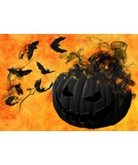 Halloween Black Flaming Pumpkin -  Art Picture Poster Photo Print 5FAL - $14.99+
