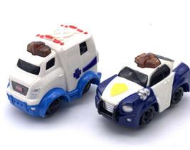 2006 Fisher Price Geotrax Lot Push Vehicles Police Ambulance Lot Lights Sound - $13.86