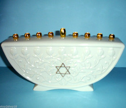 Lenox Judaic Blessings MENORAH Candle holder Embossed Vine & Gold Trim New - $42.90