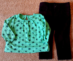 Girl's Size 12-18 M Months Two Piece Joe Fresh Green Star L/S Top & Purp... - $13.00