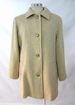 Vtg 80s Retro HERMAN KAY Tan Beige Wool Oversized Pea Trench Coat Jacket... - $44.54