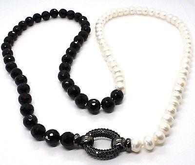 Collar Plata 925 , Zirconia Cúbicos Negros, Ónix, Perlas, Largo 80cm Bicolor