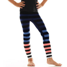 K-Deer Kids Blue/Coral/White Molly Stripe Athletic Leggings