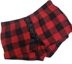 Old Navy L Red Black Buffalo Plaid Elastic Waist Micro Fleece Shorts - $7.46