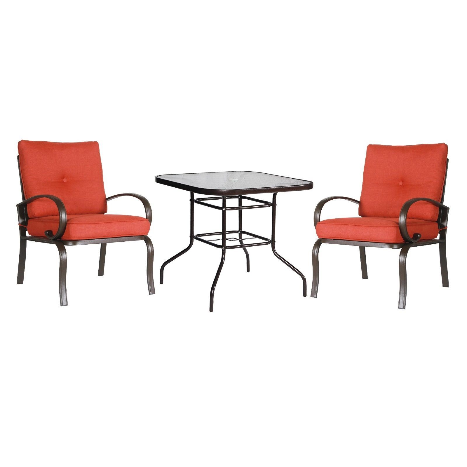 3PC Patio Bistro Set Outdoor Garden Cafe Seat Furniture Set Glass Square Table