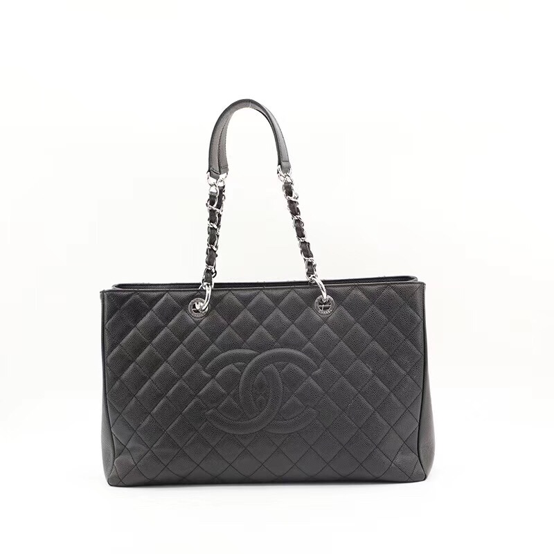 1e8a76f0289d8f 100% AUTH CHANEL BLACK QUILTED CAVIAR XL GST GRAND SHOPPING TOTE BAG ...