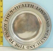 """Wilton-Columbia Pennsylvania Health Love & Wealth Pewter Plate USA 9"""" Dia. - $19.31"""