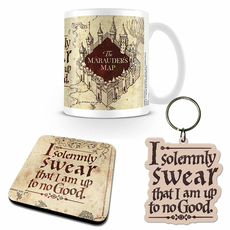 Harry Potter Marauders Map Mug, Coaster and Keychain Gift Set