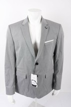 Zara Mens Suit Jacket Blazer Sz US 46 EU 56 Gray Stretch Sheen 5574/624 NWT - $98.01