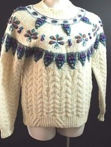 Woolrich Cable Knit Sweater Mock Turtleneck Long Sleeve Ivory Multi-Colo... - $48.35