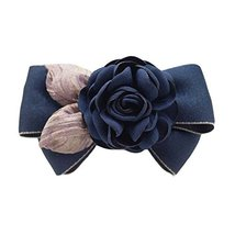 Artificial Rose Flower Cloth Hair Pin Handmade Bowknot Hair Barrettes, Navy - $12.65