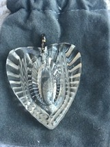 WATERFORD Crystal Heart pendant Original pouch clear glass 2 inch - $23.75