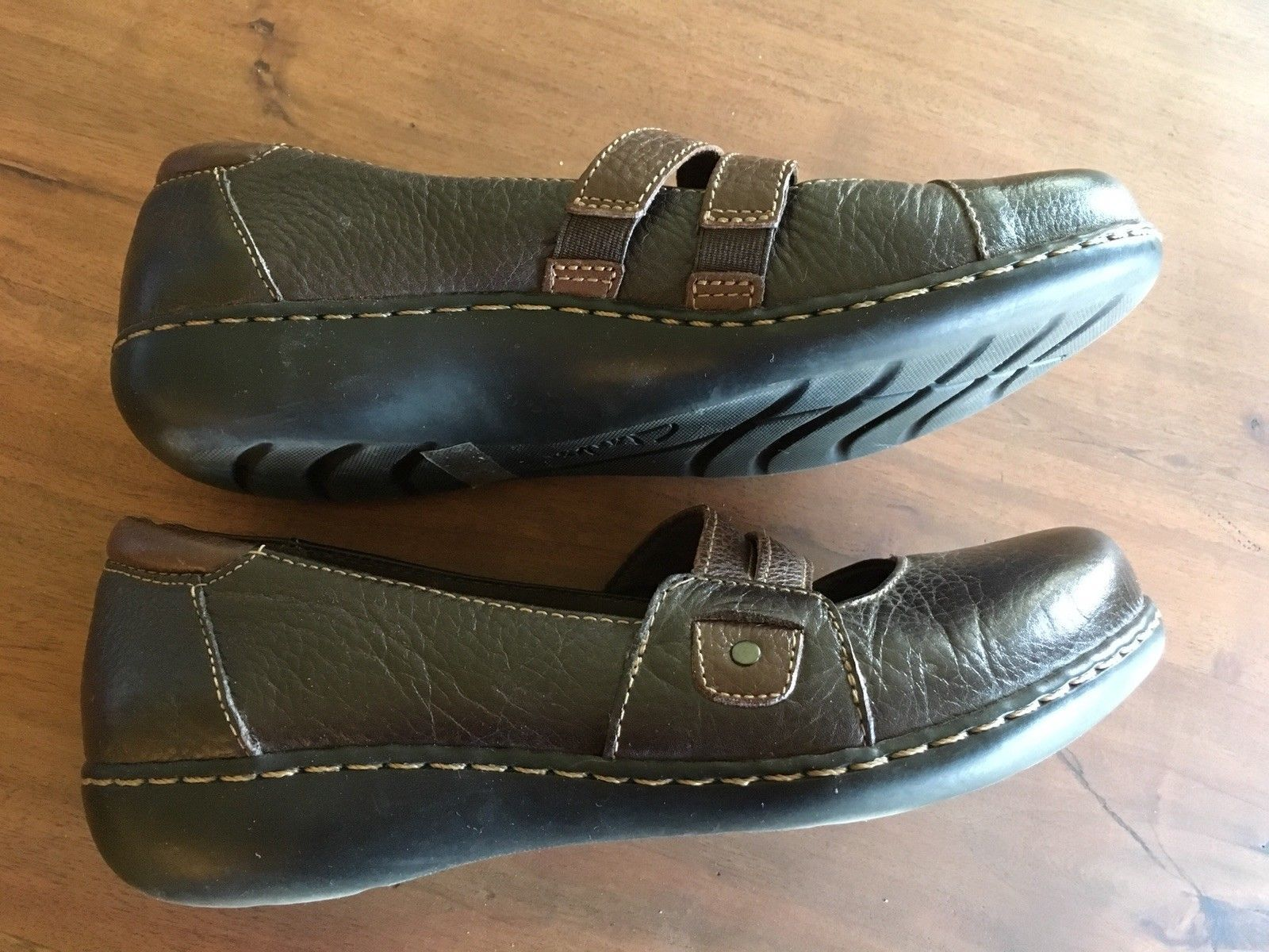 Clarks Bendables Mary Janes, Size 9, Brown, Flats,   EUC  S9