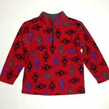 Hanna Andersson Fleece Sz 5-6y Red with robots 1/4 zip long sleeve Top J... - $11.88