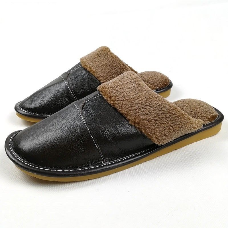 5fe06fde269 Slippers Winter Leather Warm Slippers Men and 50 similar items