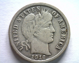 1916 BARBER DIME VERY FINE / EXTRA FINE VF/XF VERY FINE / EXTREMELY FINE... - $19.00