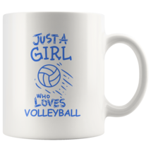 Just a Girl Who Loves Volleyball 11oz Ceramic Coffee Mug Gift Blue Text - $19.95