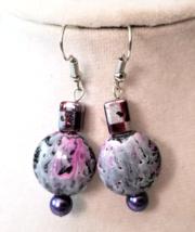 Geometric Purple Earrings, Painted Pink Earrings, Beaded Dangle Earrings - $7.00