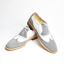 White Gray Suede Genuine Leather Handcrafted Wing Tip Party Wear Oxford Shoes - $139.99+