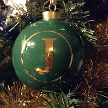 Letter J in Gold on Green Ceramic Monogram Ornament