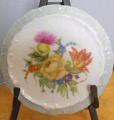 "Vintage Hand Painted Ceramic Round Wall Hanging 6.25"" Thistle Rose"