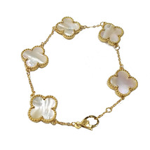 Women's Bracelet 14k Gold plated with white pearls charm gift - $69.00