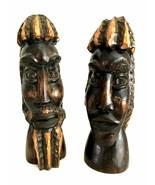 Carved Wooden Folk Art Man & Woman Busts Rasta Jamaica African American ... - $78.20