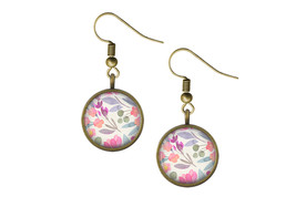 Pastel Watercolor Flowers Wire Back Earrings  - $14.95