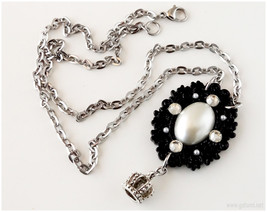 Gothic Lolita Crown Necklace, Decoden, Stainless Steel, Long - $20.00