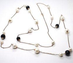 Collier en Argent 925 Rose,Onyx Noir,Perles ,Longue 130 cm,Chaîne Rolo,2 Tours image 3