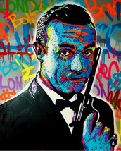 Alec Monopoly Oil Painting on Canvas graffiti art James Bond Portrait 28... - $21.77+