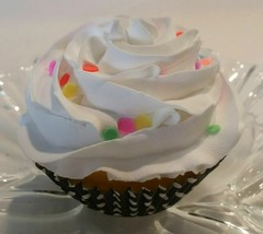 Birthday Cake White  Confetti Cupcake Faux Cupcake- fake home decoration... - $8.41