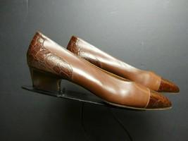 Women's Allen Edmonds Italy Faux-Croc Cap-Toe Kitten Heel Pumps Sz 10B MINT! - $43.70