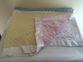 Just Born Velour Minky Dot Baby Blanket Satin Patchwork Pink Yellow Blue White - $29.70