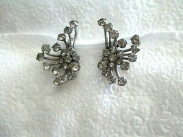 "Vintage Atomic Rhinestone Silver Clip Earrings  1.75""  B A Ballou Pat 19... - $19.79"