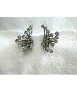 """Vintage Atomic Rhinestone Silver Clip Earrings  1.75""""  B A Ballou Pat 19... - $19.79"""