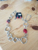 995 Silver W/ Red Beads Necklace Set (New) - $8.58