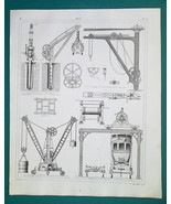 CRANES Windlasses Jacks - 1844 Superb Print - $9.00