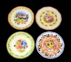 4 Sue Zipkin Hndpntd TUSCAN GARDENS Wine Rooster Olives Sunflowers Salad Plates - $34.99