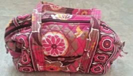 Vera Bradley Classic 100 Handbag Carnaby Red Purse Flower Orange Vera Br... - $29.69