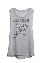 Thread Tank All I Need Is Coffee and Jesus Women's Sleeveless Muscle Tank Top Te - $24.99+