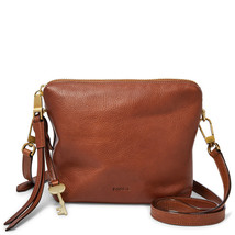Fossil Maya Brown Leather/Cotton Lining Zipper Closure Crossbody - $289.99