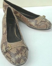 Brooks Brothers women's flats brown leather snakeskin pattern size 8.5 b... - $36.62
