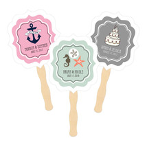 Personalized Paddle Hand Fans Themed 50+ Designs! Birthday Wedding Showe... - $86.69+