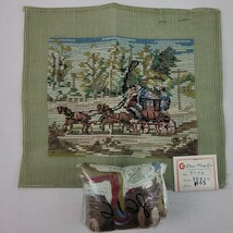 Horse Needlepoint Kit Carriage Stagecoach Petite Point Tramme Wool Yarn ... - $95.00
