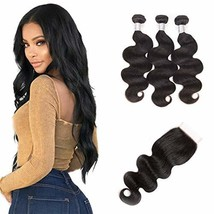 Brazilian Natural Color Hair Bundles With Lace Frontal 4x4 Closure Virgi... - $71.70