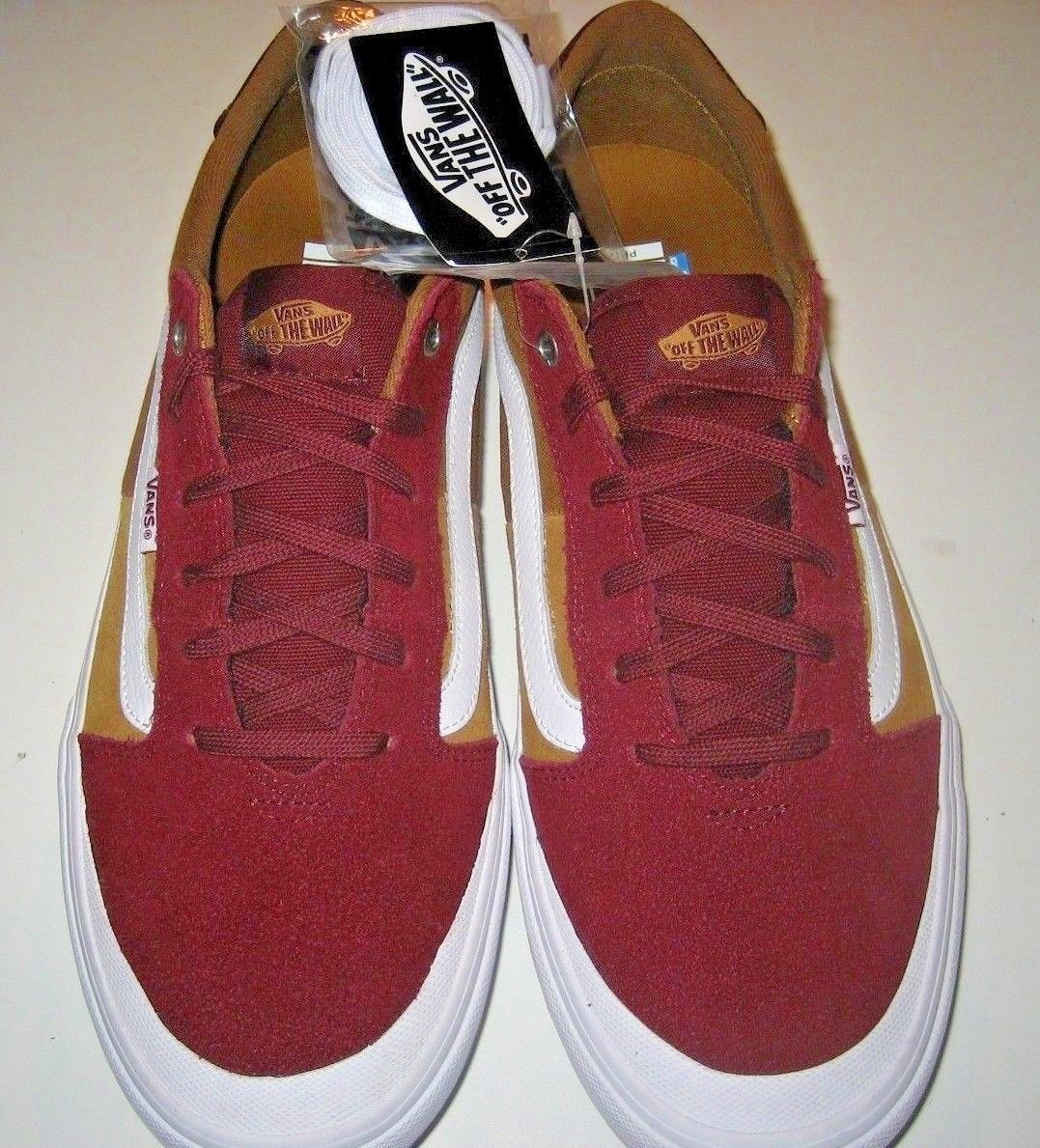 Vans Mens Style 112 Pro Burgundy Medal Bronze Skate Shoes Canvas Suede Size 12