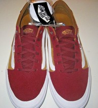 Vans Mens Style 112 Pro Burgundy Medal Bronze Skate Shoes Canvas Suede Size 12  - $69.29