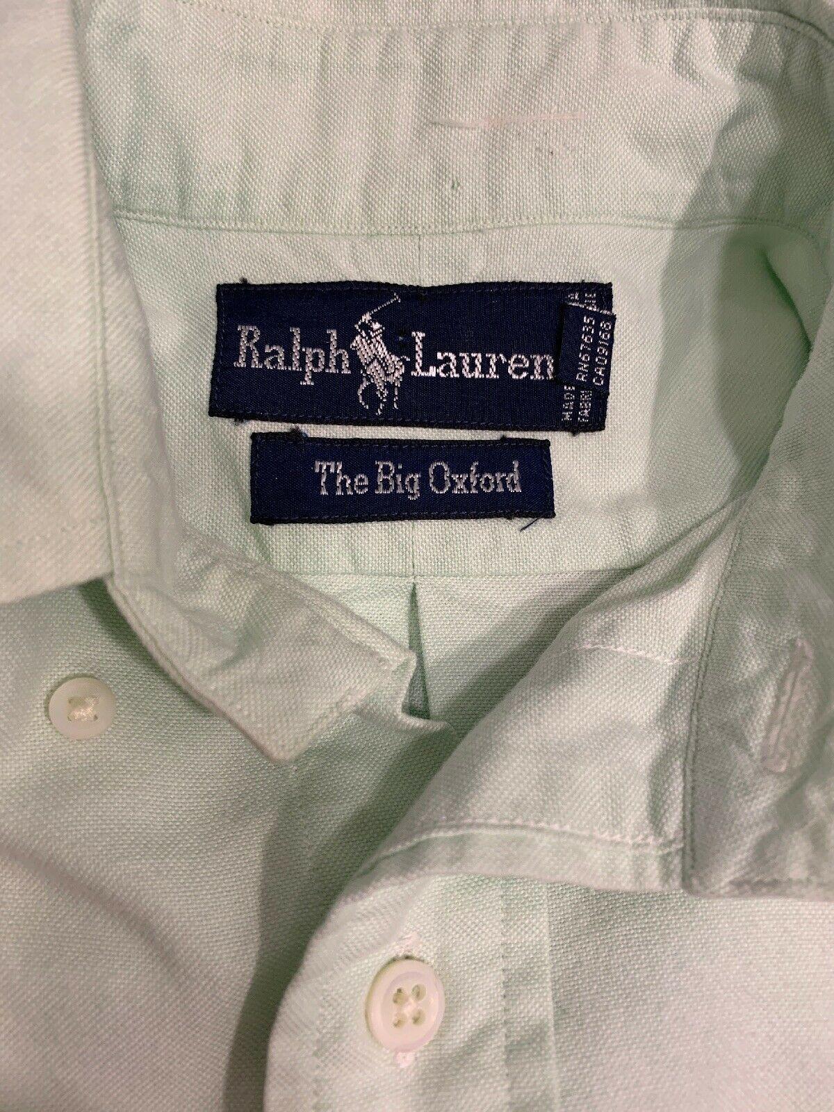 Ralph Lauren The Big Oxford Pulsante Anteriore Verde Lime Uomo Camicia Taglia 4