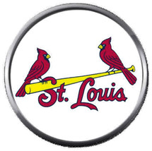 2 St Louis Cardinals On Bat MLB Baseball Logo 18MM - 20MM Snap Jewelry C... - $5.95